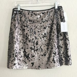 NWT 1. State Sequin Silver & Black Skirt - Size 10